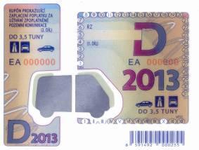 Cena dálničních známek - Česká republika 2013