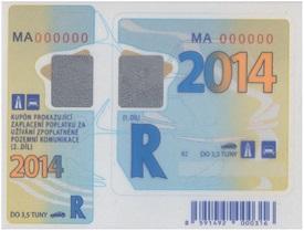 Cena dálniční nálepky - Česká republika 2014